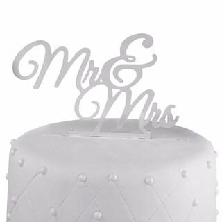 Silver 'Mr. & Mrs.' Acrylic Wedding Cake Topper