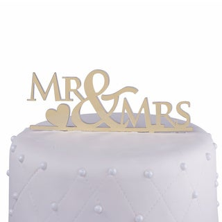 'Mr & Mrs' Gold Mirror Acrylic Wedding Cake Topper with Heart