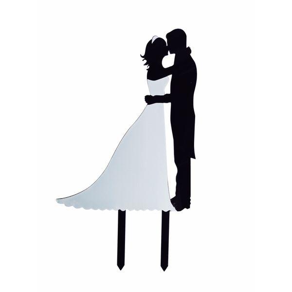 Bridal Couple Silhouette Black/White Acrylic Cake Topper