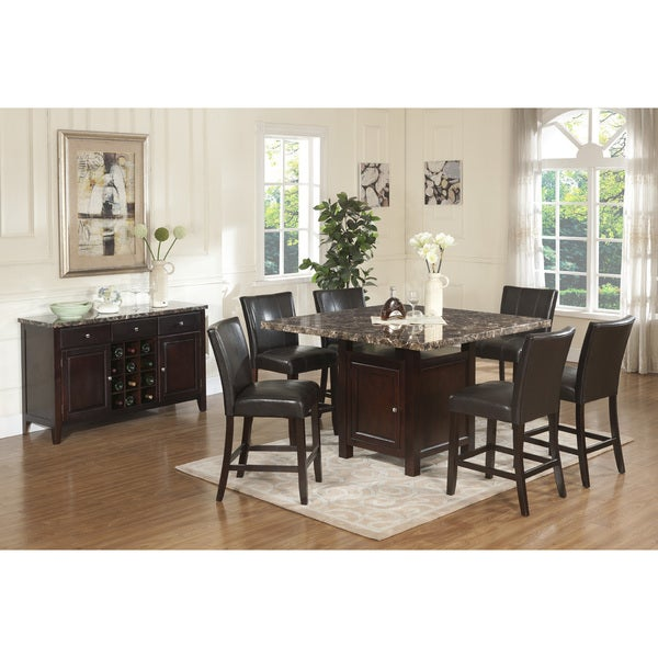 Shop Annie Royal Dark Brown Solid Wood Counter-height 7-piece Dining set with Storage - Free ...