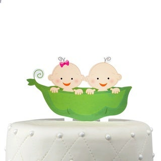 Unik Occasions Two Peas in a Pod Twins Acrylic Cake Topper