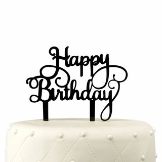 Happy Birthday Black Acrylic Cake Topper