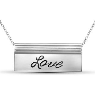 Jewelonfire Love Sterling Silver Engraved Plate Necklace
