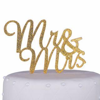 Unik Occasions 'Mr & Mrs' Script Gold Glitter Acrylic Cake Topper