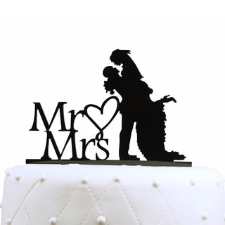 Unik Occasions Mr and Mrs Silhouette Acrylic Cake Topper