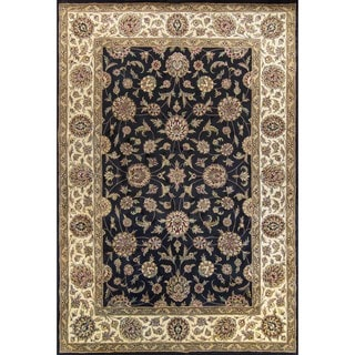 KAS Noble 4206 Black/Ivory Wool and Cotton Agra Rug (9'3 x 13'3)