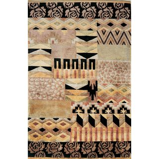Valencia Multi-color Wool Tribal Abstract Rug (5'3 x 8'3)