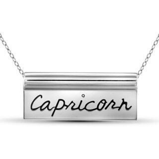 Jewelonfire Capricorn Sterling Silver Engraved Name Plate Necklace