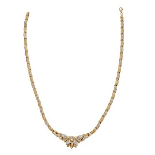 Decadence 14k Two-tone Gold 17-inch High-polished Diamond-cut Flower Necklace