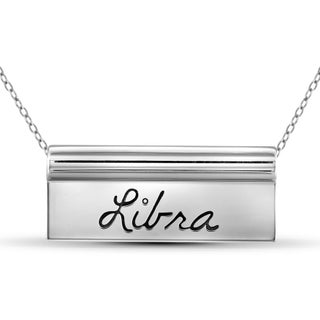 Jewelonfire Sterling Silver Libra Engraved Name Plate Necklace