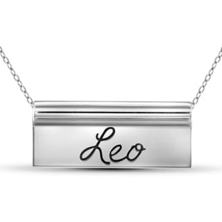 Jewelonfire Sterling Silver Leo Engraved Name Plate Necklace