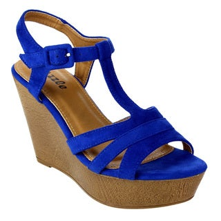 Pazzle Women's Adjustable Buckle Platform T-strap Wedges Sandals