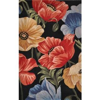 KAS Sparta TA04 Mocha/Multicolor Wool/Cotton Orchid Garden Rug (7'9 x 9'6)