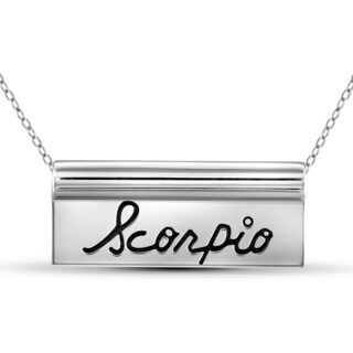JewelonFire Scorpio White/Yellow Gold/Sterling Silver Engraved Name Plate Necklace