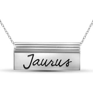 Jewelonfire Taurus Sterling Silver Engraved Name Plate Necklace|https://ak1.ostkcdn.com/images/products/12020346/P18895143.jpg?impolicy=medium