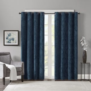 Madison Park Cecil Embossed Damask Velvet Curtain Panel