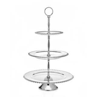 Chesterfield Silver Stainless Steel and Crystal 3-tier Server