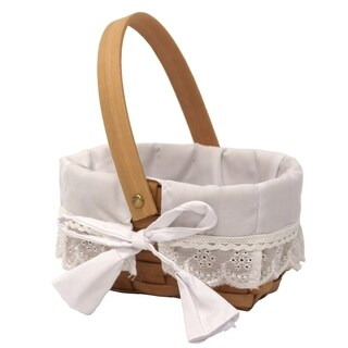 Wood Basket With Removable Ruffled Lining