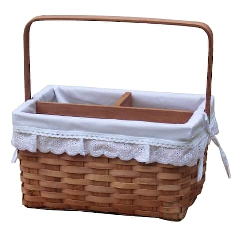Woodchip Picnic Caddy Basket with Lace Trim