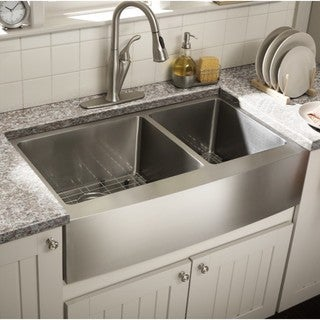 Starstar Stainless Steel 35-inch x 20-Inch 60/40 Double Bowl 16-gauge Undermount Farmhouse Apron Kitchen Sink