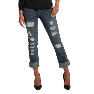 Standards & Practices Women's Rolled-cuff Destroyed Boyfriend Jeans