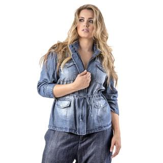 Standards & Practices Women's Abby Indigo Plus Size Zip-front Tencel Hooded Jacket