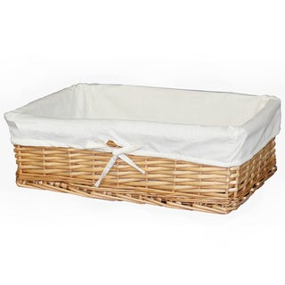 Vintiquewise White Wicker/Cotton Large Willow Basket with Fabric Lining