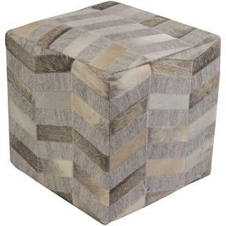 Cassadee 18-inch Viscose/Hair On Hide Square Pouf