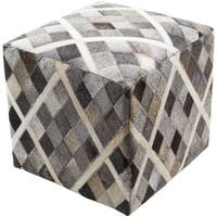 Cartag 18-inch Hair On Hide Square Pouf