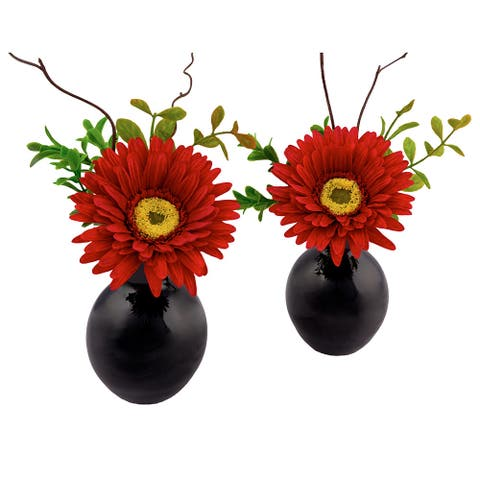 Gerbera Red Flower Arrangements in Black Glass Base