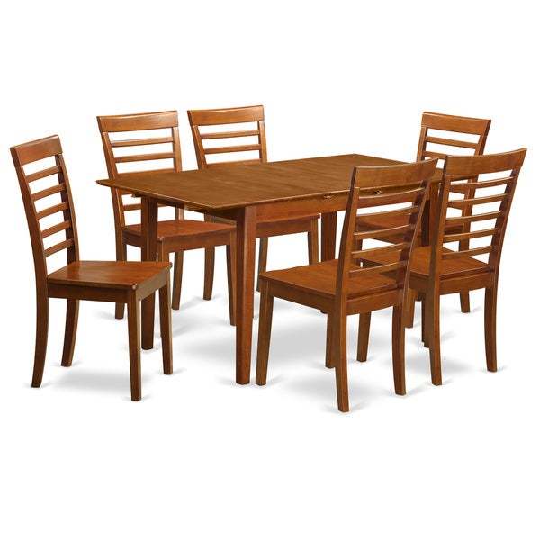 Bronze chestnut finish 7 piece dining table and chair set for Kitchen table set 7 piece