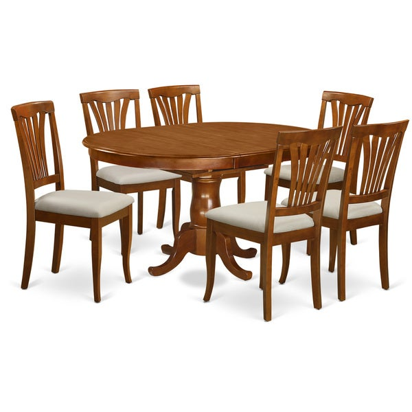 Kitchen Table With 6 Chairs: Shop POAV7-SBR Chestnut Rubberwood 7-Piece Dining Room Set