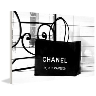 Marmont Hill 'Chanel Bag Black' Painting Print on White Wood