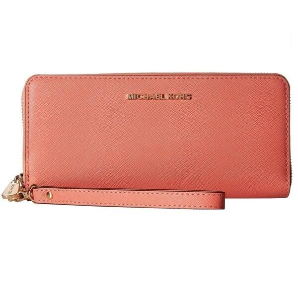 5f00bf1cb93e Shop Michael Kors Jet Set Pink Grapefruit Travel Continental Wallet ...
