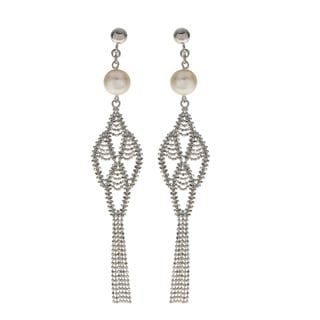 Pearls for You White Sterling Silver Freshwater Pearl 8-millimeter to 8.5-millimeter Lace Dangle Earrings