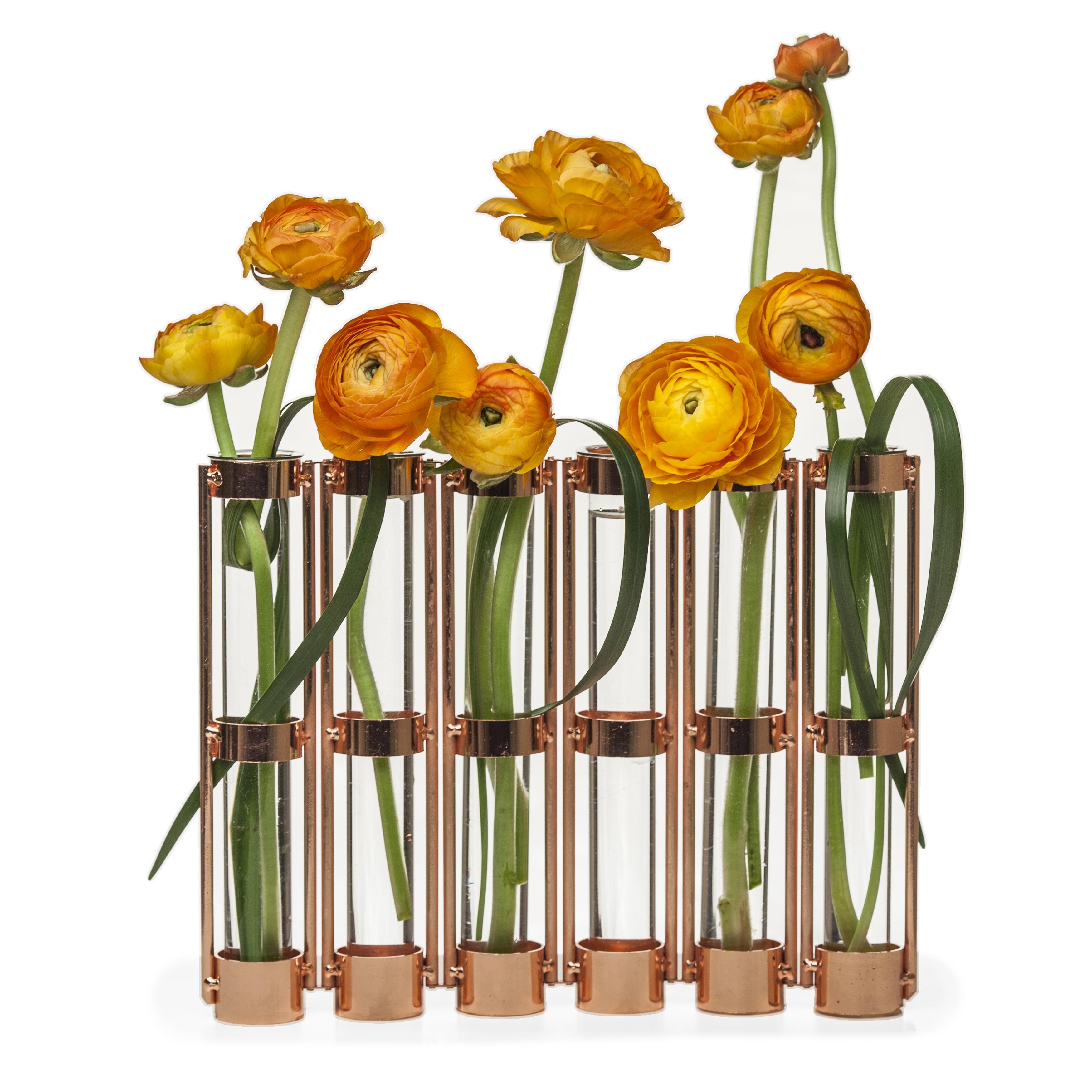 DANYA B. Metallic Rose Gold Six-Tube Hinged Bud Vase (Dan...
