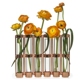 Danya B Metallic Rose Gold Six-Tube Hinged Bud Vase