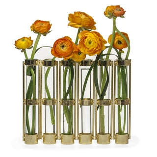 Danya B Metallic Gold Six-Tube Hinged Bud Vase