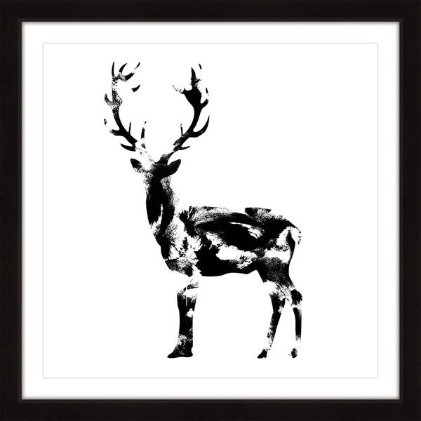 Marmont Hill 'Deer Black' Framed Painting Print