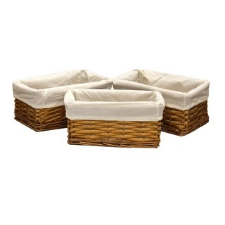Vintiquewise Willow Shelf Basket with White Lining (Pack of 3)