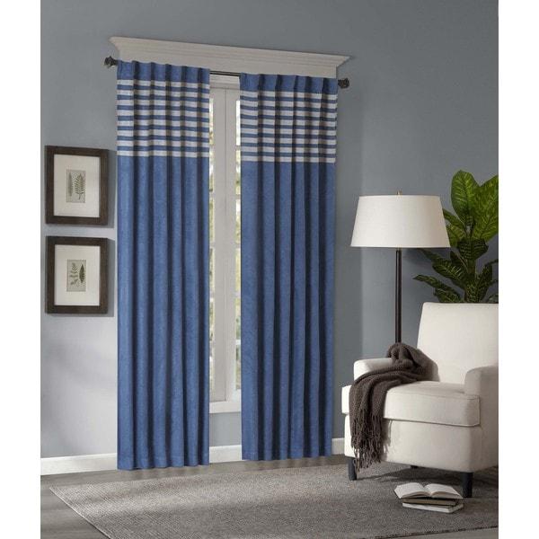 Shop Madison Park Warner Blue/ Grey Microsuede Striped