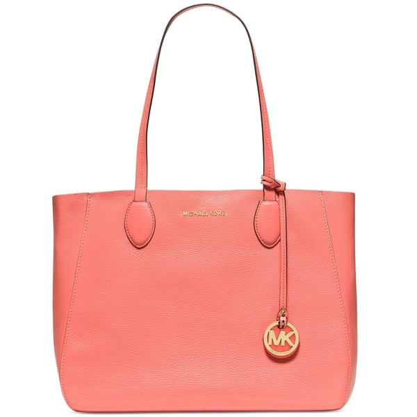 Shop Michael Kors Mae Pink Grapefruit Pale Gold East West Leather Tote Bag  - On Sale - Free Shipping Today - Overstock.com - 12020666 4413c13b1ebb9