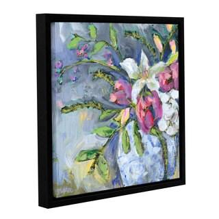 Pamela J. Wingard's 'Blue and White vase Lavender 3 ' Gallery Wrapped Floater-framed Canvas