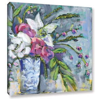 Pamela J. Wingard's 'Blue and White vase Lavender 2 ' Gallery Wrapped Canvas