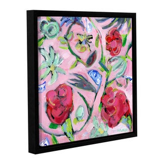 Pamela J. Wingard's 'Blue & White with Pink Pattern' Gallery Wrapped Floater-framed Canvas