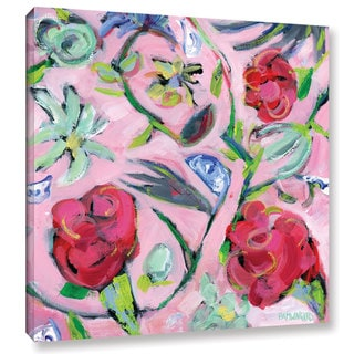 Pamela J. Wingard's 'Blue & White with Pink Pattern' Gallery Wrapped Canvas