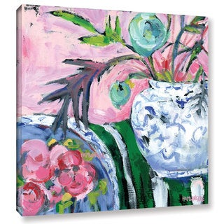 Pamela J. Wingard's 'Blue & White with Pink ' Gallery Wrapped Canvas
