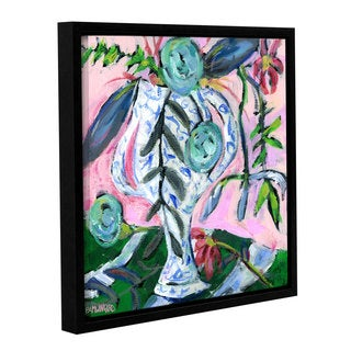 Pamela J. Wingard's 'Blue & White with Pink 3' Gallery Wrapped Floater-framed Canvas