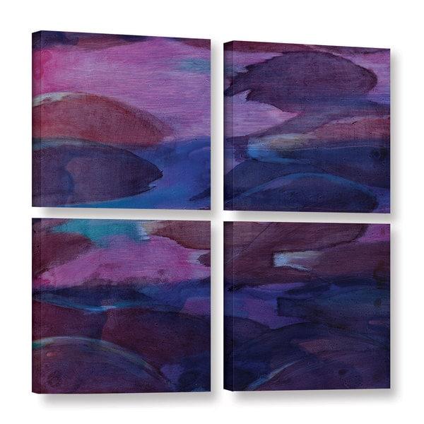 Charlotte Johnstone's 'Purple Parrots VI, 2000' Gallery 4 Piece Gallery Wrapped Canvas Square Set - Multi