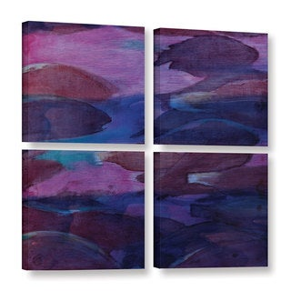 Charlotte Johnstone's 'Purple Parrots VI, 2000' Gallery 4 Piece Gallery Wrapped Canvas Square Set